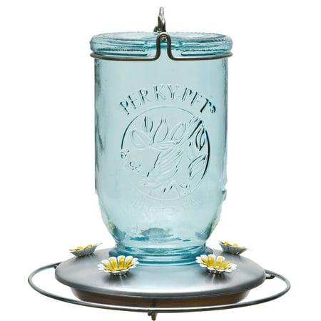 8u0022 32oz Glass Blue Mason Jar Hummingbird Feeder - Blue - Perky-Pet