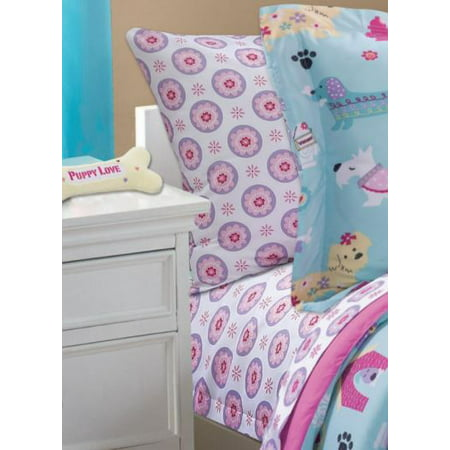 Mainstays Kids Pink Daisy Coordinating Printed Sheet Set (Pink Sheet Set Full)