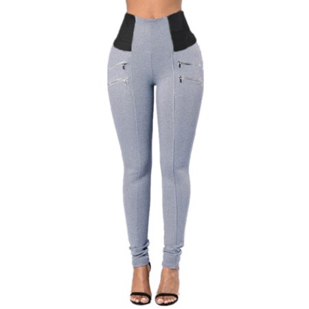 Womens Stretch Fabric Elastic Waist Slim Pencil Pants