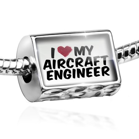 Bead I Heart Love My Aircraft Engineer Charm Fits All European Bracelets