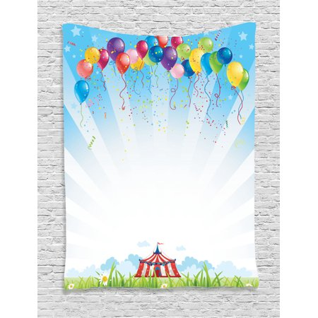 Circus Decor Wall Hanging Tapestry, Circus Under Clear Sky And Bunch Of Balloons Wildflowers Grass Travel, Bedroom Living Room Dorm Accessories, Gift Ideas, By Ambesonne - Circus Ideas
