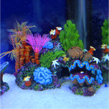 Resin Sucker Mount Coral Reef Fish Tank Cave Decoration Aquarium Ornament Background 14cm - Coral Reef Decoration