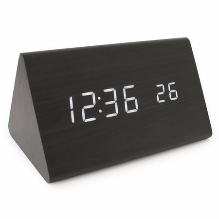 Modern Wood Clock, 2019 New Version LED Alarm Digital Desk Clock with Time Temperature USB/ AA Battery