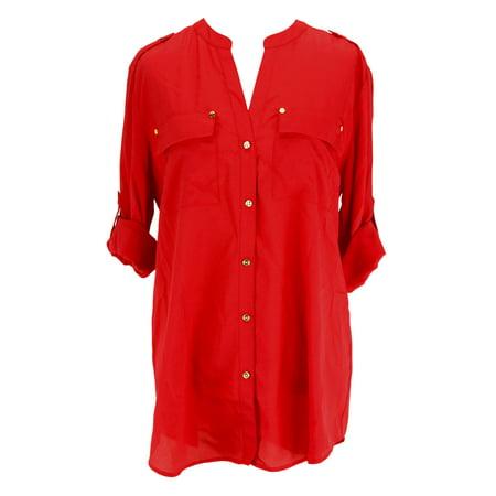 5b50bcf630a635 Charter Club - Charter Club Womens Long Sleeve Button Down Shirt - Red  Polyester - Walmart.com