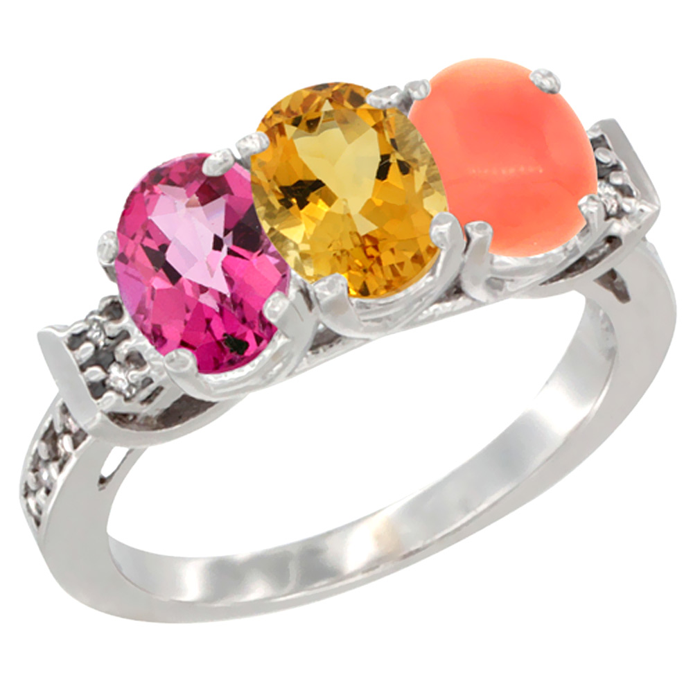 10K White Gold Natural Pink Topaz, Citrine & Coral Ring 3-Stone Oval 7x5 mm Diamond Accent, sizes 5 10 by WorldJewels