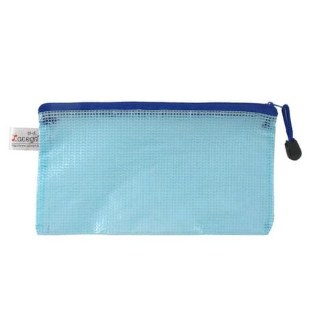 Unique Bargains Office School Zip Up A6 Size Paper Document File Holder Storage Bag Blue