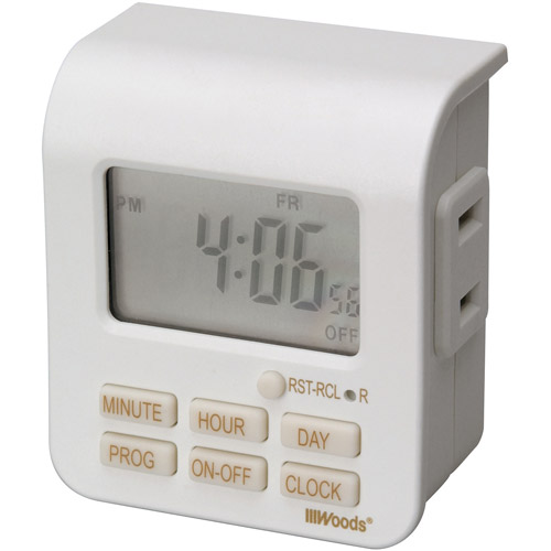 Woods 2-Conductor Indoor Digital 7-Day Lamp Timer, White, 50008