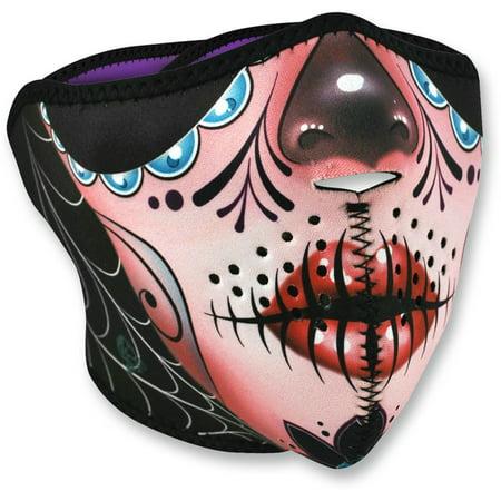 Zan Headgear Half Face Mask Sugar Skull (Pink, OSFM) (Halloween Sugar Skull Makeup Half Face)