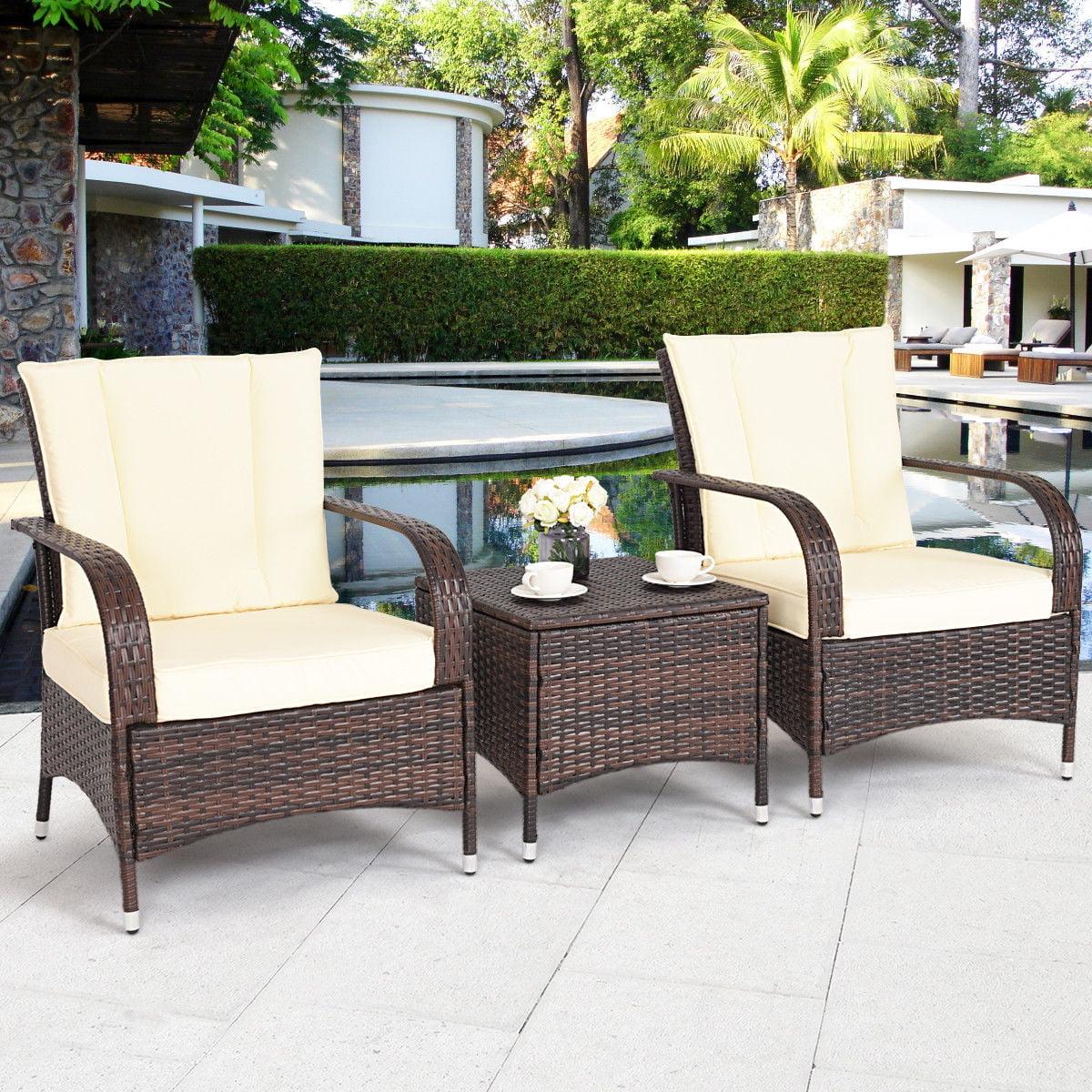 Costway 3PCS Outdoor Patio Mix Brown Rattan Wicker Furniture Set Seat Cushioned Beige