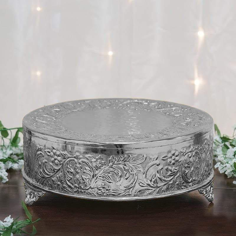 Cake Plate Silver Embossed, Silver Round Cake Plateau