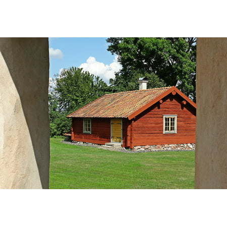 Canvas Print Countryside Red Cottage Old Cottage Sweden Stretched Canvas 10 x (Countryside Cottage)