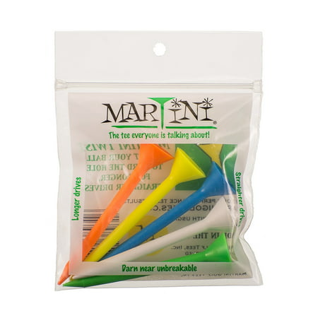 """Martini Golf 3-1/4"""" Durable Plastic Tees 5-Pack (Assorted Colors), VIRTUALLY UNBREAKABLE - Much stronger than old-fashioned wooden tees because they.., By ProActive Sports"""
