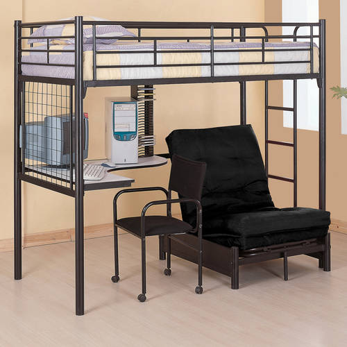 Coaster Twin Over Futon Metal Bunk Bed With Desk, Black