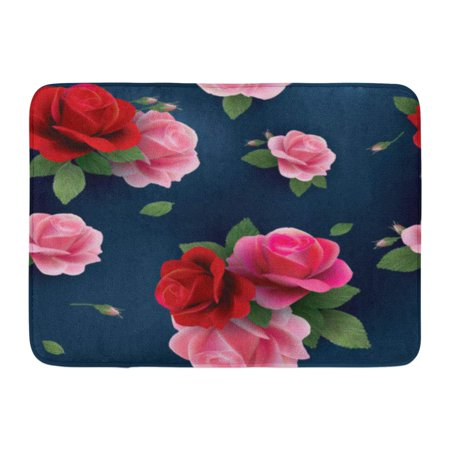 GODPOK Green Blue Flower Elegant Abstract Floral Pattern with of Red and Pink Roses Colorful Accent Orange Rug Doormat Bath Mat 23.6x15.7 inch (Orange Accents)