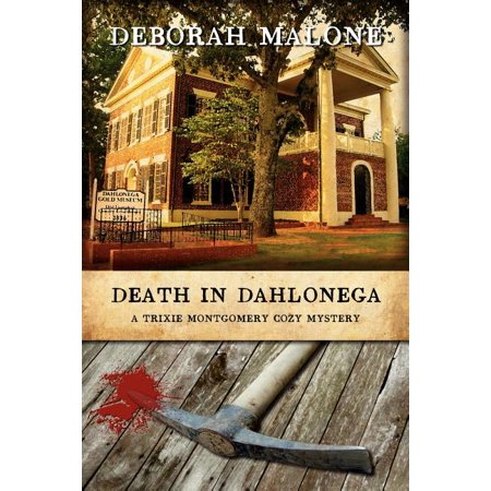 Death in Dahlonega A friendly adventure turns to murder and mayhem in the north Georgia mountains. Historical writer Trixie Montgomery is asked to cover Gold Rush Days in the picturesque Georgia mountain town, Dahlonega. Trixie seizes the chance to mix business with pleasure and asks her best friend, Dee Dee to tag along. Their well laid plans go awry when Dee Dee is discovered standing over the lifeless body of prominent citizen, John Tatum - the very man she'd had a run in with earlier that day - holding a bloody pickax in her hands. Can Trixie find a way to finish her assignment and keep Dee Dee out of the slammer? Winner in American Christian Fiction Writers' Category Five writing contest!