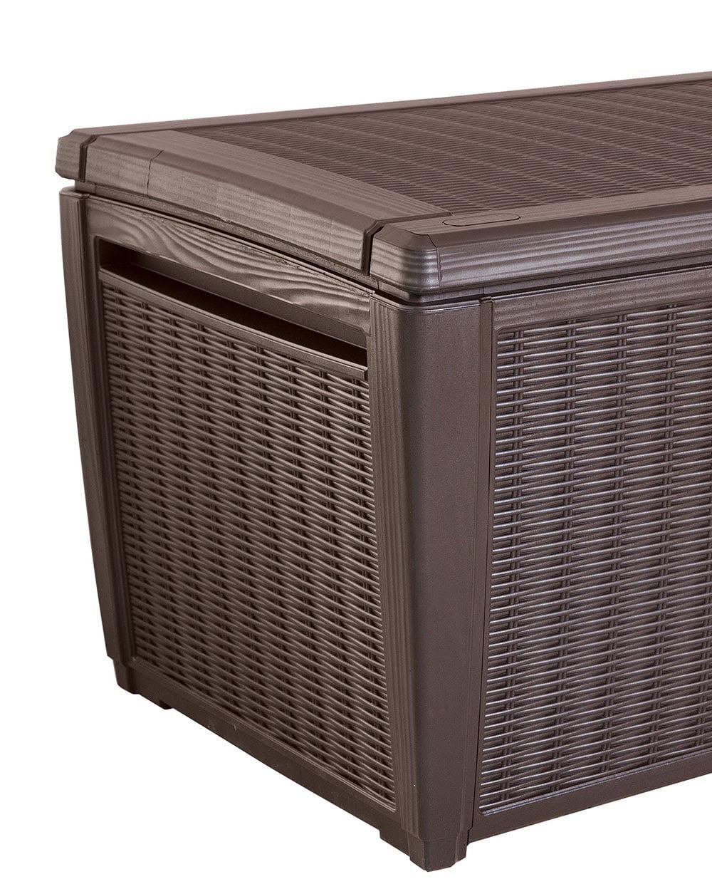 Keter Rattan Style 3 Drawer Cart.Keter Sumatra 135 Gallon Rattan Style Deck Box Walmart Com