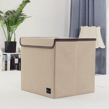 13'' Foldable Fabric Storage Basket Cube Bin Toy Organizer with Lid Khaki