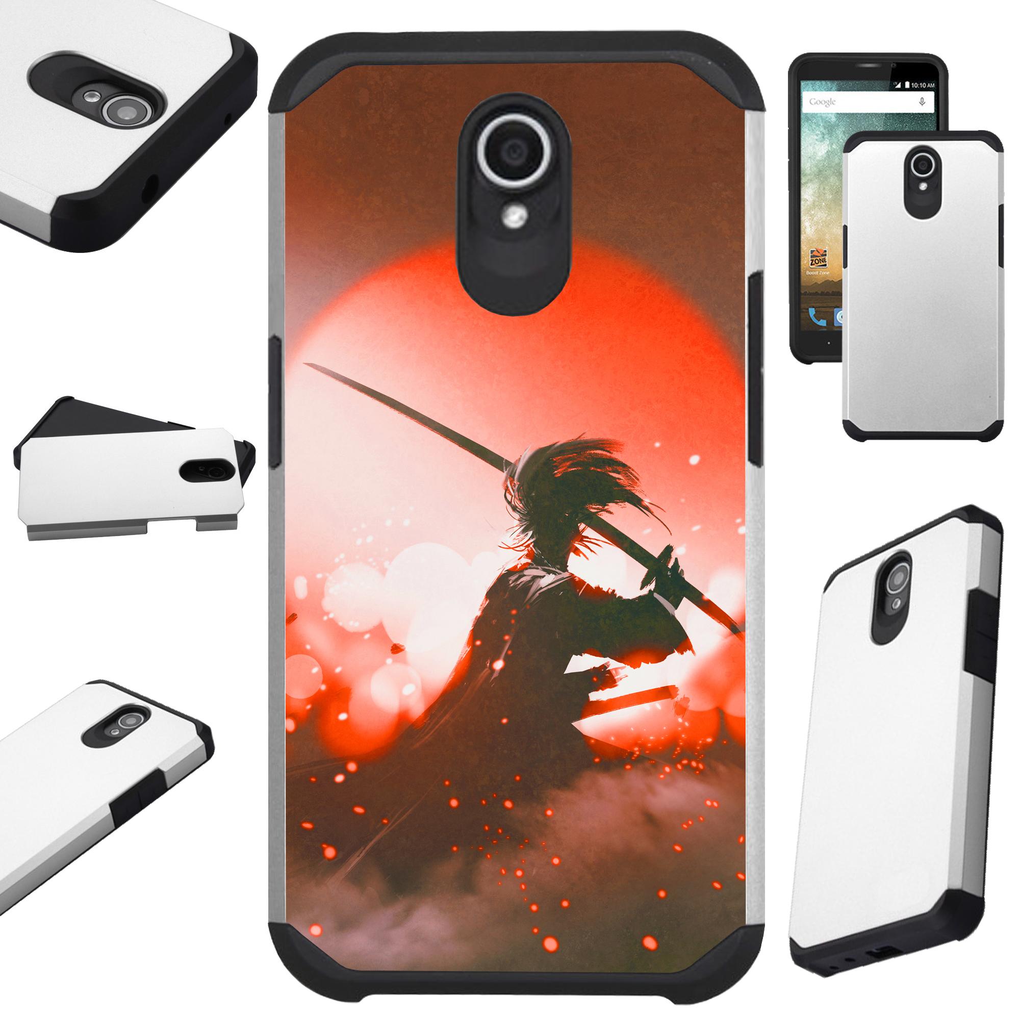 Compatible Alcatel idealXTRA | 1X Evolve (2018) | TCL LX Phone Case Hybrid TPU Fusion Cover (Red Samurai)