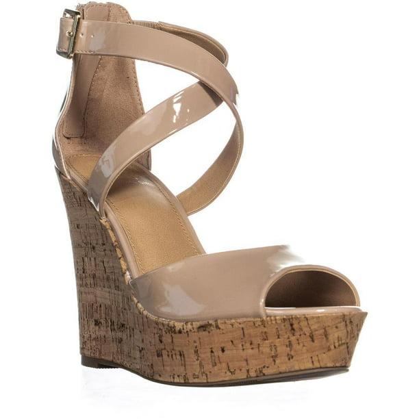 Peep Toe Nude Platform Wedge Sandals - Tbdress.com