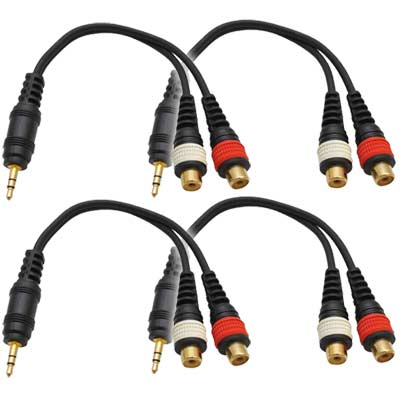 "Seismic Audio 4 Pack Male 1/8"" (3.5mm) to Female RCA Patch Cable Adapter Cord for iPhone, iPod Black - SA-iEM2TRSF-4Pack"