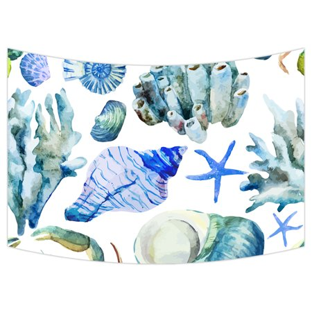 YKCG Sea Ocean Watercolor Seashell Coral Crab Wall Hanging Tapestry Wall Art 90x60 inches