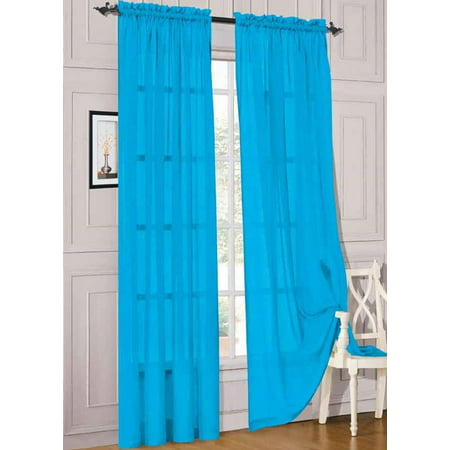 2pc Turquoise Solid Sheer Voile Window Curtain Set, Two (2) Rod Pocket Panels 55