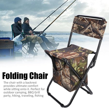 Portable Folding Chair Seat Stool With Backrest Storage