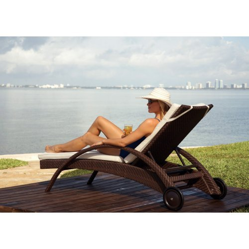 Hospitality Rattan Soho Patio Chaise Lounge with Wheels - Rehau Fiber Java Brown