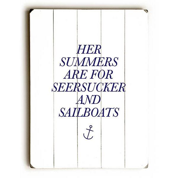 "ArteHouse Decorative Wood Sign ""Seersuckers and Sailboats"" by Artist Amanda Catherine, 14"" x 20"", Planked Wood"