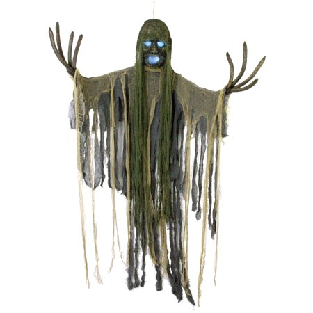 Halloween Haunters Hanging Scary Tree Reaper Zombie with Strobe Light Skull Prop Decoration - Branch Fingers