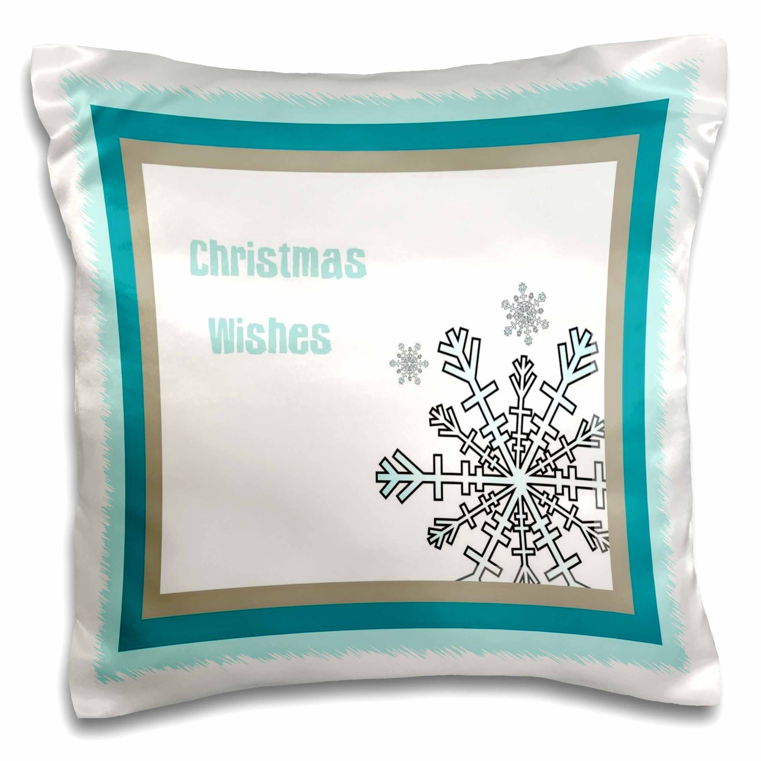 3dRose Merry Christmas A Christmas greeting card with a teal snowflake and teal border, Pillow Case, 16 by 16-inch