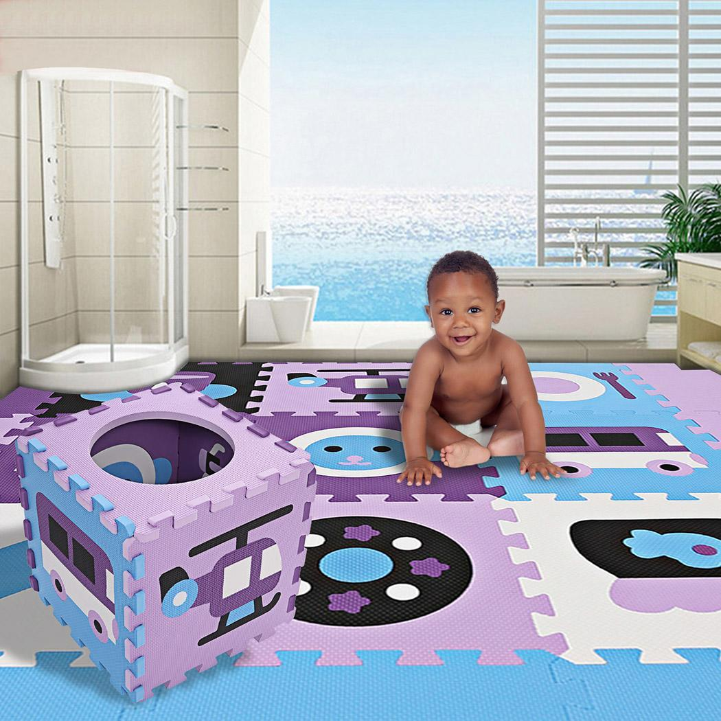 Puzzle Mat Floor with Fence for Kids Play, Extra Thick Non-Toxic Waterproof Crawling Baby Foam Puzzle HPPY
