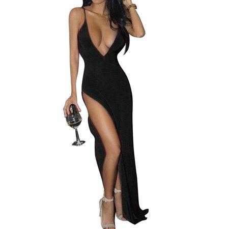 Leadingstar Women's Fashion Sexy Deep V-neck Backless Spaghetti Strap Maxi Tank Split Side Long Dress - image 8 of 8