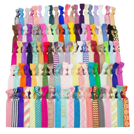 Womens Ponytail Holder - JLIKA Elastic Hair Ties (Set Of 100) Colorful Prints and Solids, No Crease Ouchless Ponytail Holders, Ribbon Hairties for Women Girls Teens and Kids