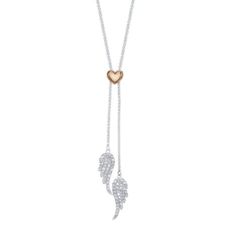 Flush Plate (Believe by Brilliance 14kt Gold Flash Plated Crystal Angel Wing Adjustable Pendant Necklace, 30