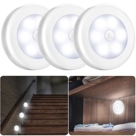 3pack Motion Sensor Light Cordless Battery Ed Led Night Hallway Stair