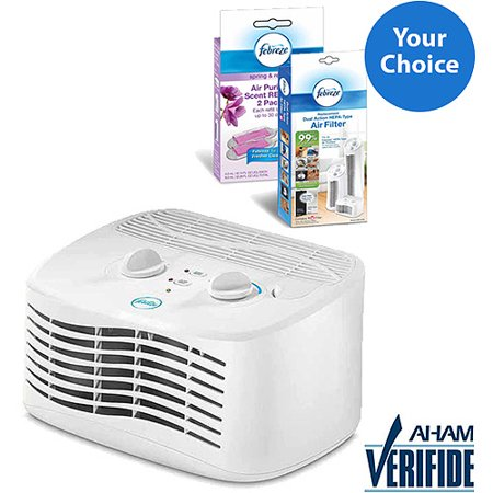 Febreze Tabletop Air Purifier, White, FHT170W Solution Bundle Febreze Air Purifiers are the only air purifiers specially designed to powerfully clean the air, eliminate odors and add freshening with Febreze scent. Breathe cleaner air, breathe happy!