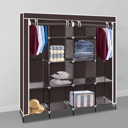 Ubesgoo Portable Clothes Closet Wardrobe Storage Standing Organizer With Non Woven Fabric Quick Easy To Emble Brown
