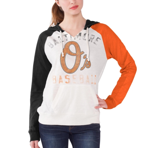 Women's  White Baltimore Orioles Double Play Pullover Hoodie