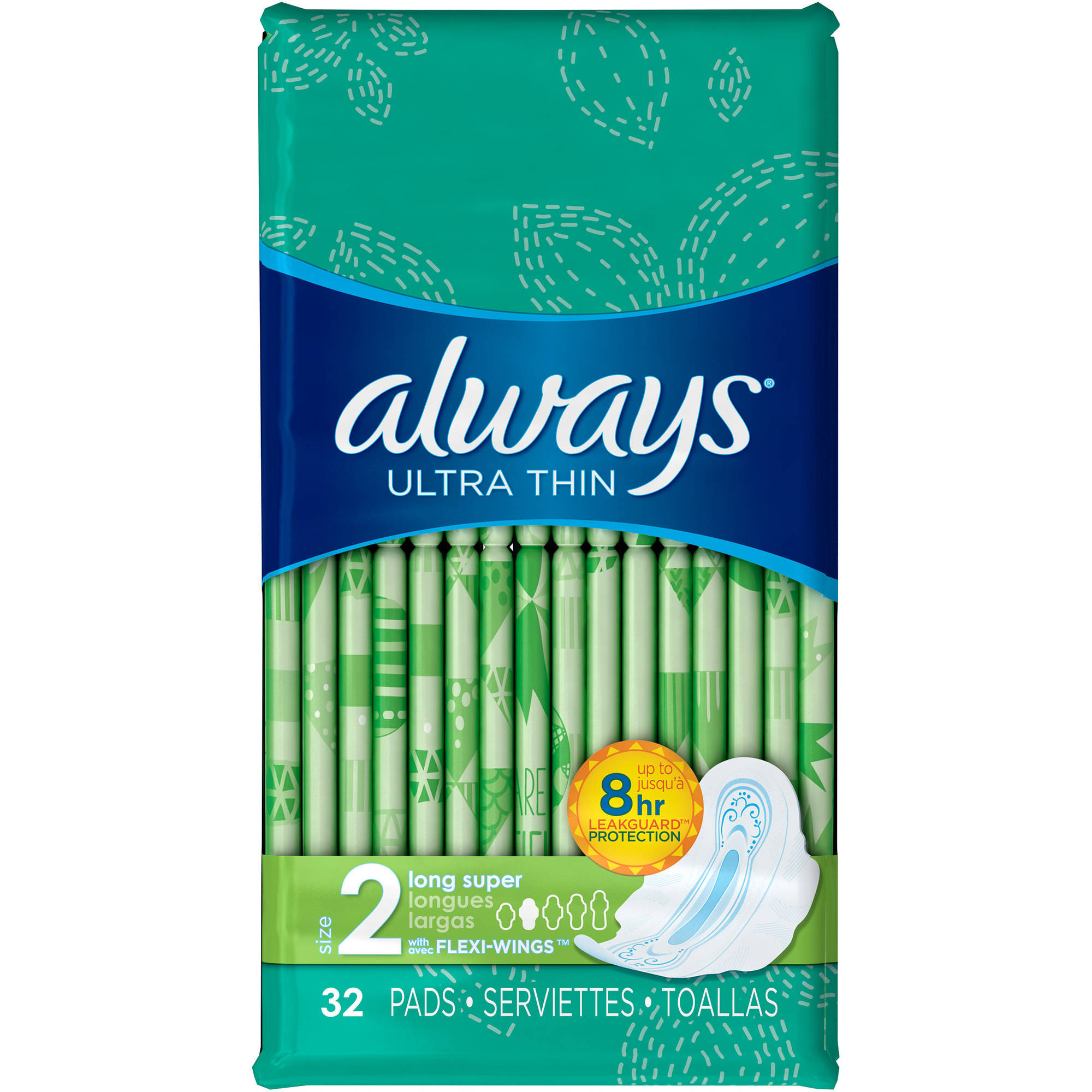 Always Ultra Thin Long Super Pads with Flexi-Wings, 32 count