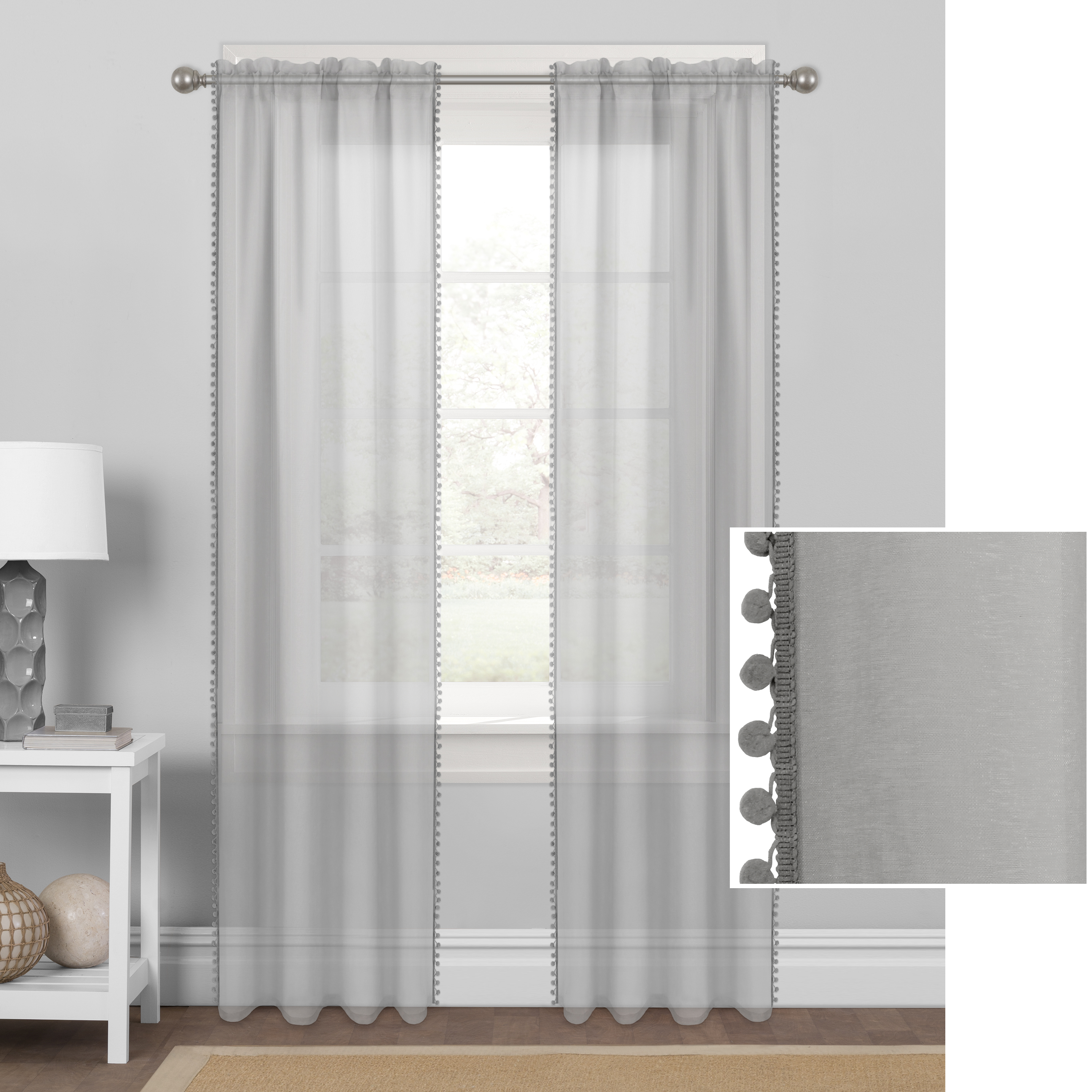 Mainstays Sheer with Pom-Poms Window Curtain Panel