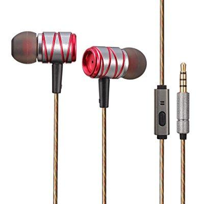 muz k20 earbud headphones with microphone and remote deep bass noise isolating earphones for iphone, ipad, ipod, samsung galaxy phones, mp3 players (red)