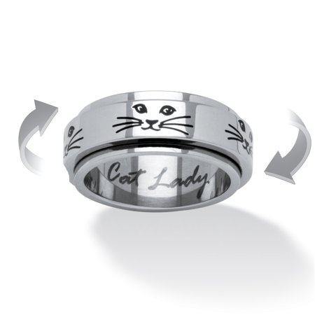 Cat Lady Spinner Ring in Black IP Stainless Steel Cat Stainless Steel Ring