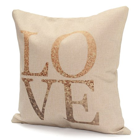 Meigar Vintage Love Heart Throw Pillow Cushion Cover 18''x18'' Cotton Linen PillowCase Standard Decorative Pillowslip Pillow Protector Cover Case for Sofa Couch Chair Car Seat - image 2 of 4