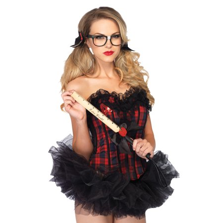 Leg Avenue 3 Piece Extra Credit Costume Kit Includes Ruler Paddle Faux Glasses and Hair Bow, Black/Red, One - Bbw Costume