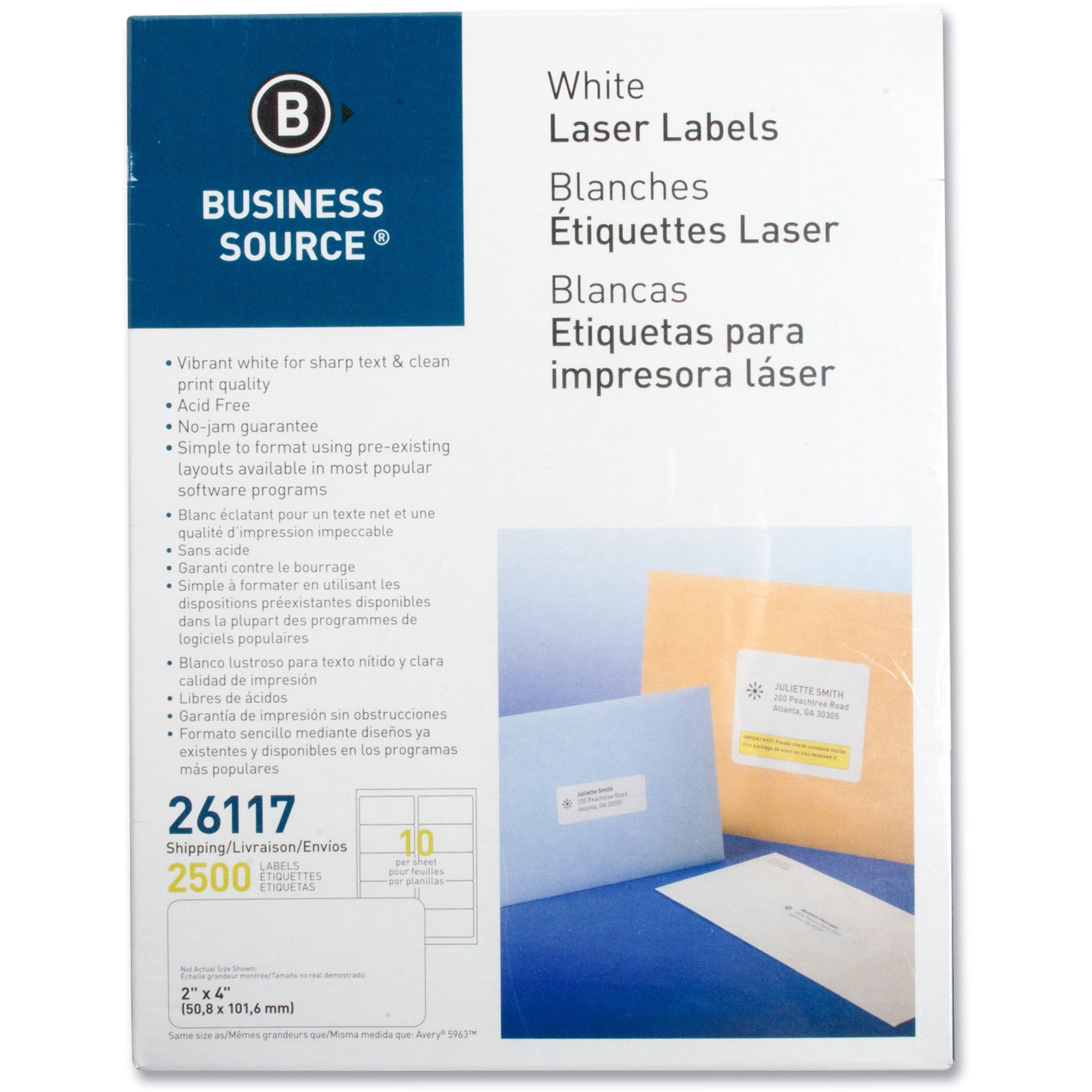 Business Source, BSN26117, Bright White Premium-quality Shipping Labels, 2500 / Pack, White