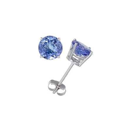 14K White Gold Round Natural Tanzanite Stud Earrings (1.50 CT)