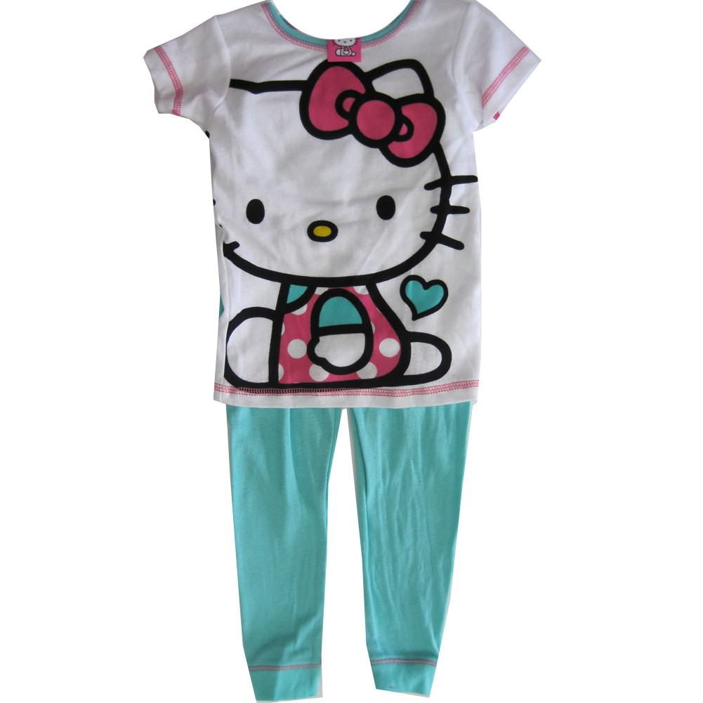 Hello Kitty Little Girls Blue White Kitty Print Short Sleeved 2 Pc Pajama Set 4-6