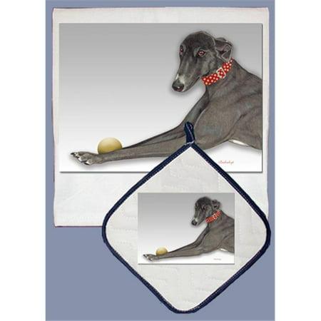Pipsqueak Productions DP556 Dish Towel and Pot Holder Set - Greyhound Black