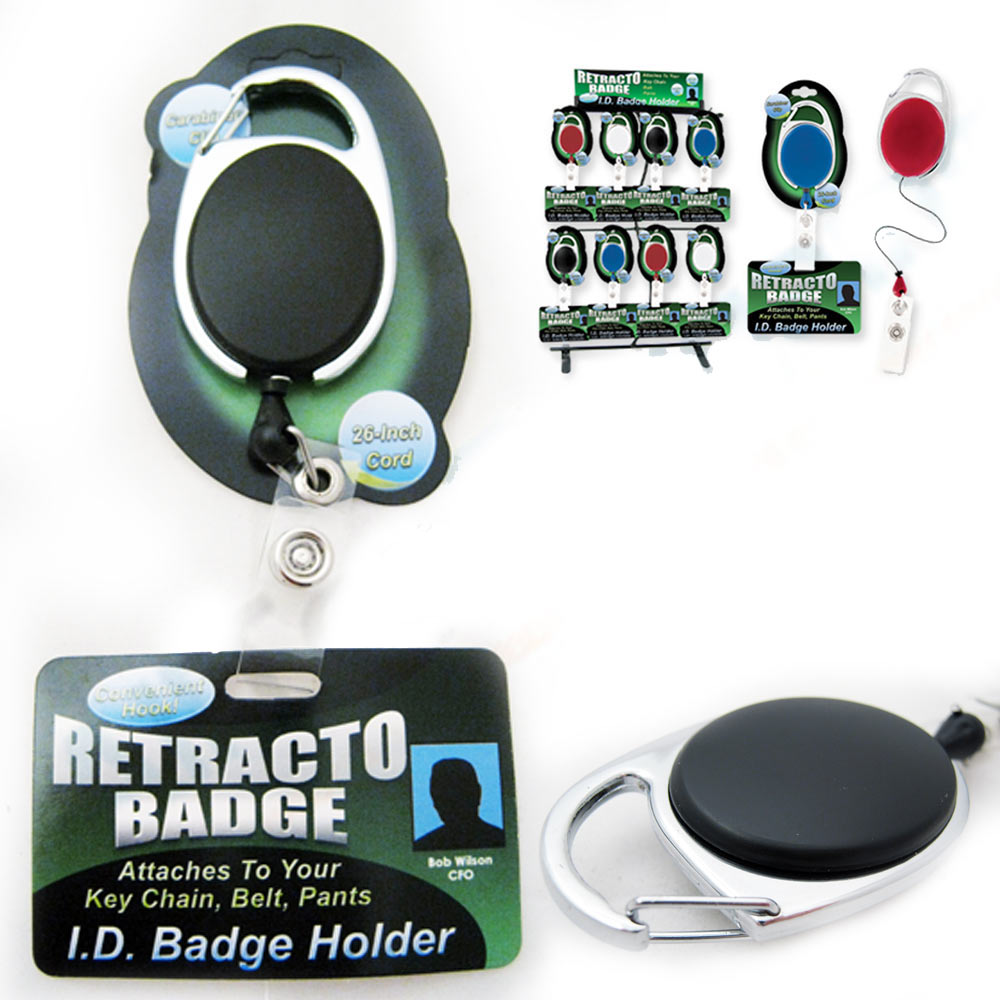 Retractable ID Badge Holder Reel Clip Attaches Key Chain Belts Pants Blue Black